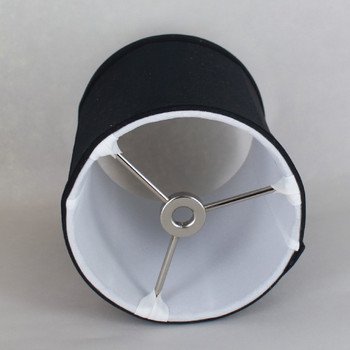 6in. Black with Off White Lining Drum Stretch Shantung Lamp Shade