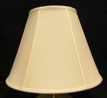 12in Empire Stretch Shantung Lamp Shade with Vertical Piping - Off White