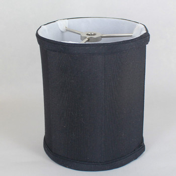 8in. Black with Off White Lining Drum Stretch Shantung Lamp Shade