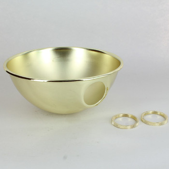 6-5/8IN. DIAMETER BRASS PLATED PARABOLIC SHADE WITH 1-1/2IN HOLE AND UNO SOCKET THREADED RINGS