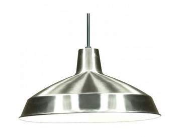 Brushed Nickel Finish Industrial Style Warehouse shade with E-26 Base Lamp Socket with 12ft Wire