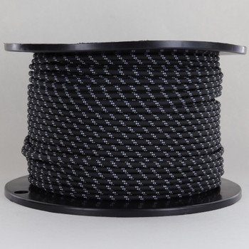 14/1 Black with White Tracer/Marker Cloth Covered 14 Gauge AWM Stranded Flexible Cord