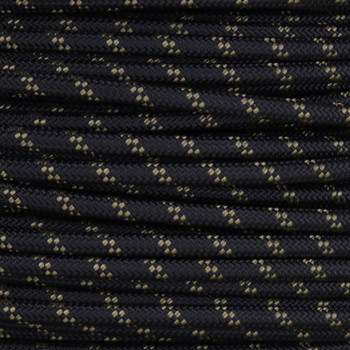 14/1 Black with Gold Tracer/Marker Cloth Covered 14 Gauge AWM Stranded Flexible Cord