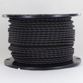 14/1 Black with Brown Tracer/Marker Cloth Covered White Wire 14 Gauge AWM Stranded Flexible Cord