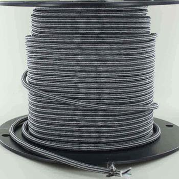 16/3 SJT-B Black/White Diamond Pattern Nylon Fabric Cloth Covered Lamp and Lighting Wire.