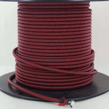 16/3 SJT-B Black/Red Diamond Pattern Nylon Fabric Cloth Covered Lamp and Lighting Wire.