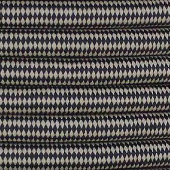 16/3 SJT-B Black/Beige Diamond Pattern Nylon Fabric Cloth Covered Lamp and Lighting Wire.