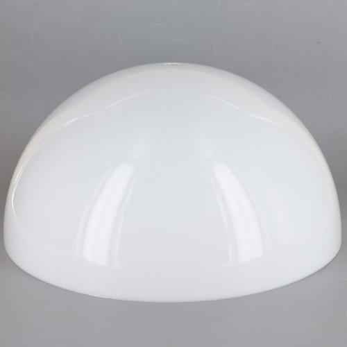 14in Diameter White Acrylic Hemisphere with 1/8ips Slip 7/16in Diameter Center Hole