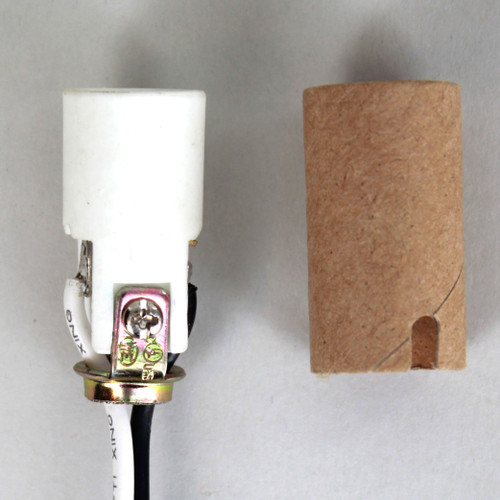 1-1/2in. Porcelain Candelabra Socket with Cardboard Insulator, 1/8ips. Hickey, and 24in. Leads