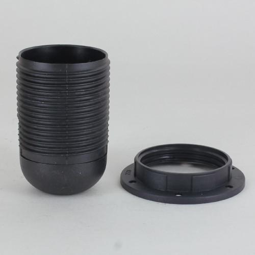 E-12 Black Fully Threaded Skirt Thermoplastic Lamp Socket Shade Ring and 1/8ips Threaded Cap