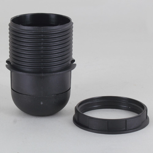 1/8ips E-26 Black Threaded Skirt with Shade Rest Shoulder Thermoplastic Lamp Socket with Shade Ring