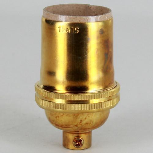 E-26 Keyless Socket with 1/8ips. Female Cap - Unfinished Brass