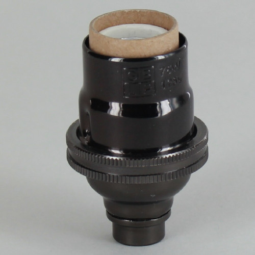 E-12 Socket with Porcelain Interior - Black Nickel Finish