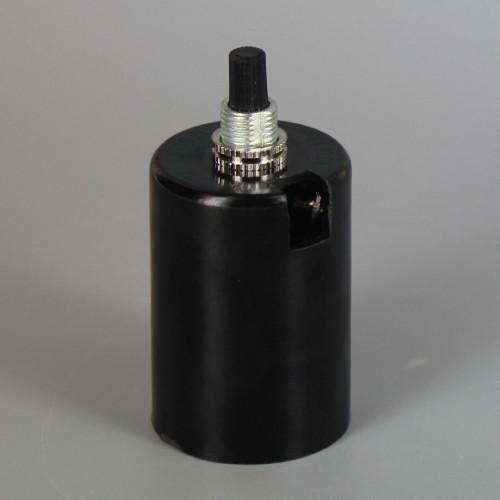 2 Piece Black Phenolic Husk Single Bottom Turn Knob Socket with Wire Way