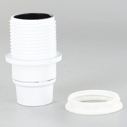 E14 White Threaded Skirt with Shoulder Phenolic Lamp Holder with 1/8ips Threaded Cap