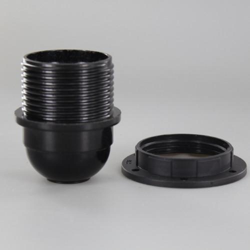 E27 Black Phenolic Threaded Skirt Shoulder Stop Lamp Holder with 1/8ips Threaded Cap