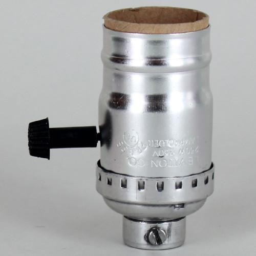 Medium Base Metal Shell Removable Turn Knob Socket With 1/4ips Female Threaded Bushing - Nickel Plated
