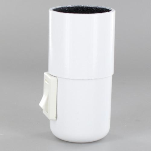E27 White Phenolic Smooth Skirt Toggle Switch Lamp Holder with 1/8ips Threaded Cap