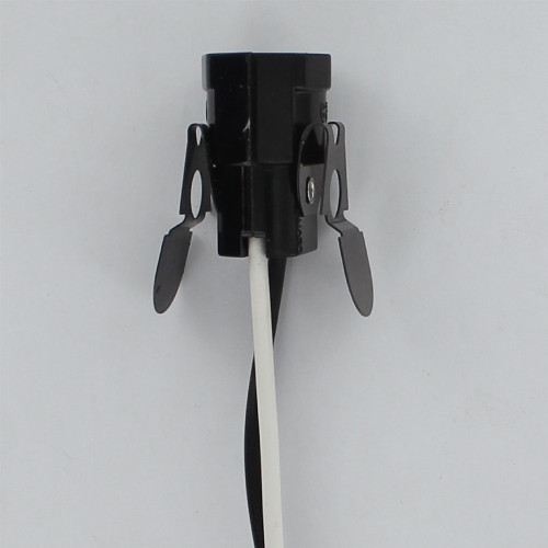 Phenolic Candelabra Lamp Socket with Snap In Spring Clip and 24in. 105 deg. Black and White Leads