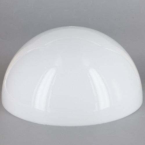 12in Diameter White Acrylic Hemisphere with 1/8ips Slip 7/16in Diameter Center Hole
