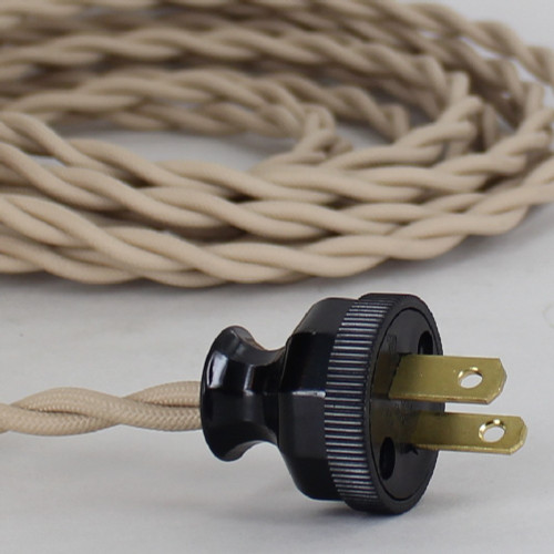 10ft Long Beige Twisted 18/2 SPT-2 Type Twisted Powercord with Antique Style Phenolic Plug.
