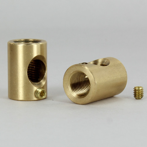 5/8 in. W x 7/8 in. H - 1/8IPS Female Threaded Neck with Side Wire Outlet and side set screw - Unfinished Brass
