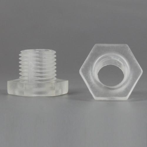 Clear 1/8ips Male Threaded Nylon Hex Head Bushing