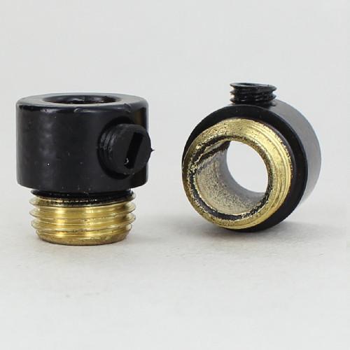 1/4ips. Male Threaded Strain Relief with Nylon Set Screw - Black Powdercoated Brass