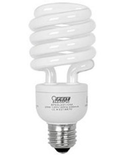100W Replacement! 25W White E-26 Base Compact Fluorescent Bulb