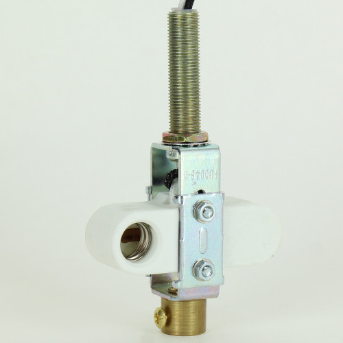 2 Light E-12 Offset Porcelain Socket Cluster with 1/8ips Female and 1/8ips Male Long Thread Nipple