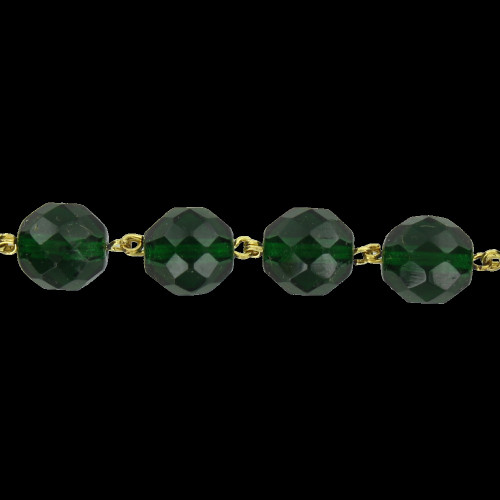 12mm. Green Crystal  Cut and Faceted Round Beaded with Brass Pin Chain