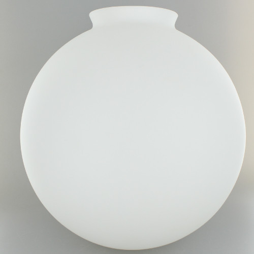 10in. Hand Blown Satin Opal Matte Glass Ball with 4in. Neck