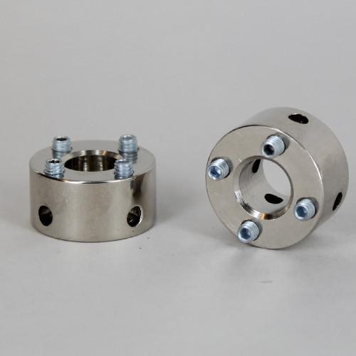 Polished Nickel Finish 4 Hole Spider Washer with Set Screws and 1/8ips. Slip Through Center Hole