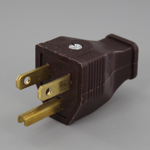 Brown - 3-Wire Grounded Thermoplastic Plug with Screw Terminal Connection