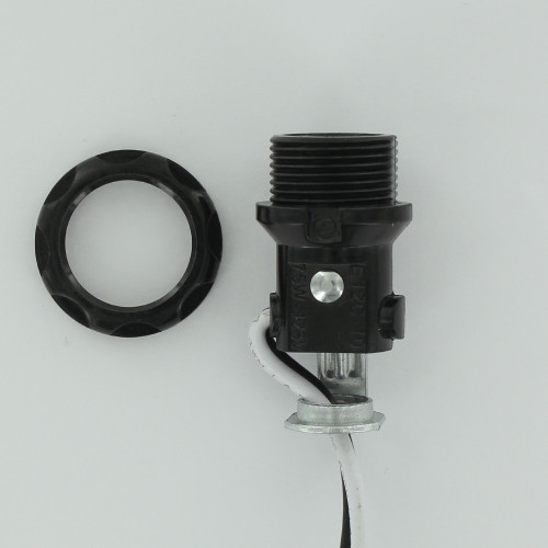 E12 Base Phenolic Candelabra Base Lamp Socket with Threaded Body and 1/8ips. Hickey and 8in. Leads