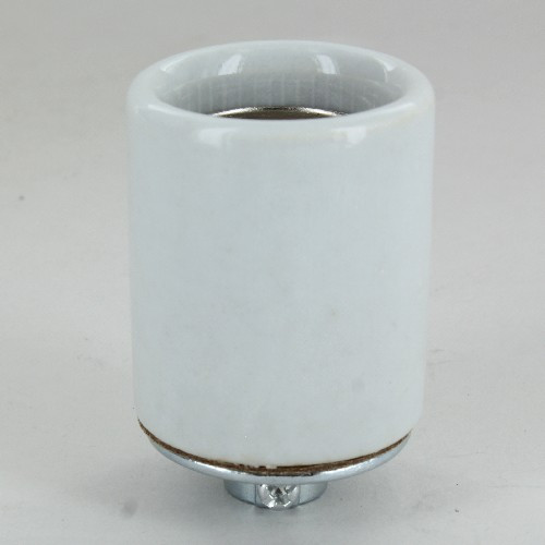 1/8ips Porcelain Grounded E-26 Base Ground Terminal Lamp Socket with Screw Terminal Wire Connections