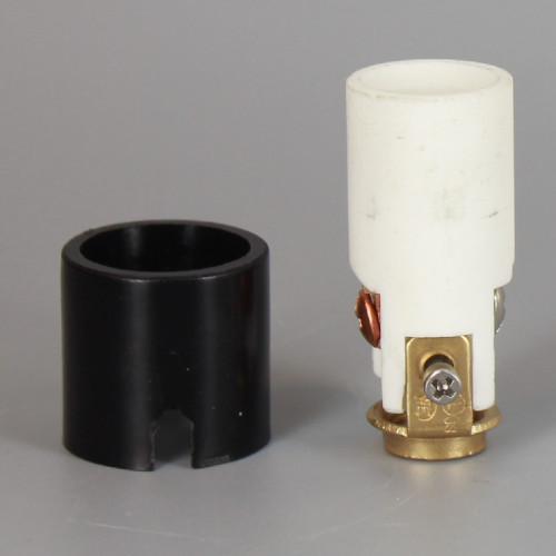 1-5/8in Height  Porcelain E-12 Base Damp Location Rated Lamp Socket.
