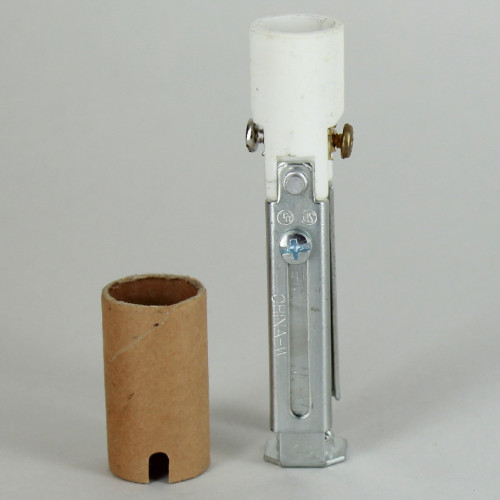 3-1/2in. - 4-5/8in. Adjustable Porcelain. E-12 Socket with Cardboard Insulator and 1/8ips. Hickey