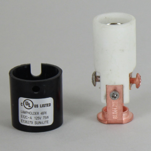 1-3/4in. E-12 Base Damp Location Lamp Socket with Phenolic Cover and Removable 1/8ips. Hickey