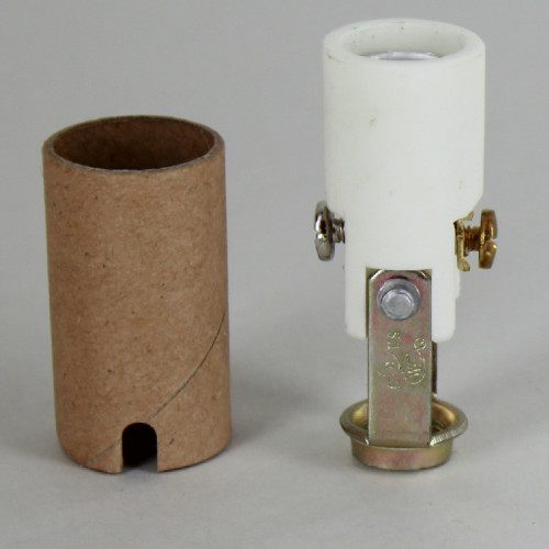 1-15/16in. Porcelain Candelabra Socket with Cardboard Insulator and 1/8ips. Hickey