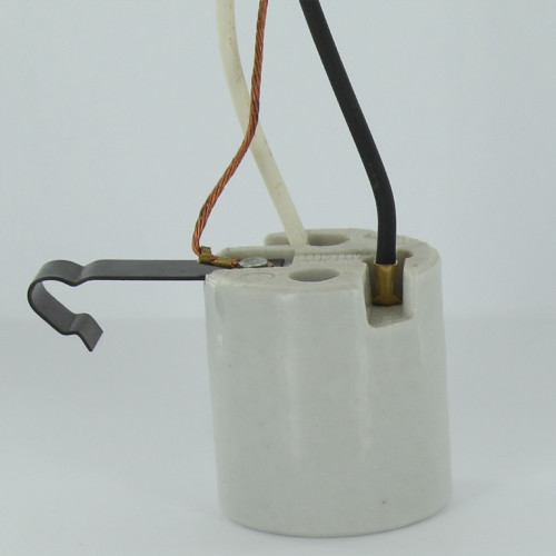E-26 Porcelain Snap-In Socket with 200 Degree Celsius Leads and 1in. Clip