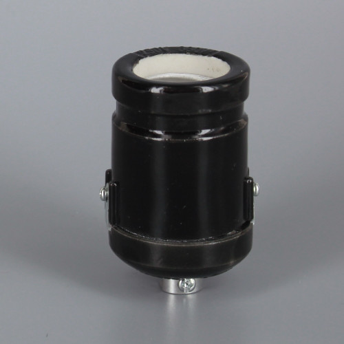 1/8ips Black Threaded Cap Antique Style Keyless Porcelain lamp socket with Clamp On Shoulder
