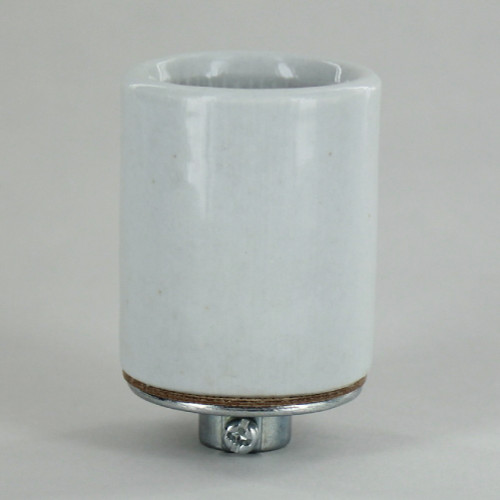 E-27 Base Porcelain Grounded Lamp Socket with 1/8ips Threaded Metal Cap. CE Approved.