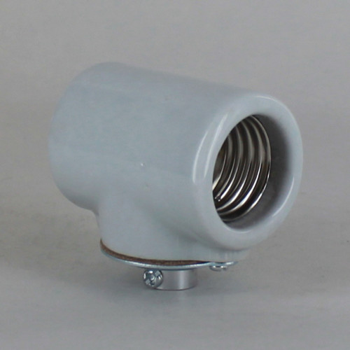 E27 Base Porcelain Double Lamp Socket with 1/8ips Threaded Cap. CE Approved
