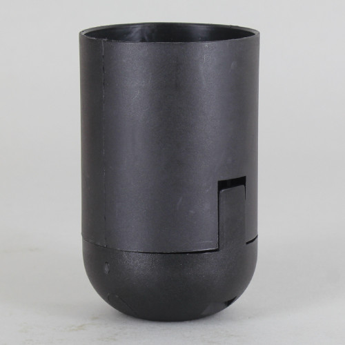 E-27 Black Smooth Skirt Thermoplastic Lamp Socket with 1/8ips Threaded Cap and Locking Setscrew