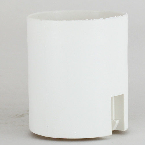 E-27 White Smooth Skirt Thermoplastic Lamp Socket with. Push Terminal Wire Connections.