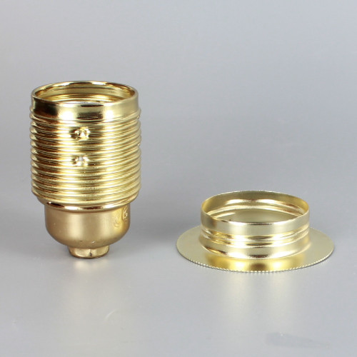 Brass Plated Finish European E-27 Grounded Metal Threaded Skirt and Shade Ring Socket