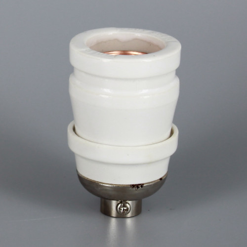 100 Year Anniversary White Porcelain Antique Reproduction Keyless Lamp Socket with 1/8ips. Cap