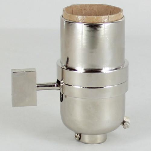`-Way Square Key Smooth Shell Cast Lamp Socket - Polished Nickel Finish