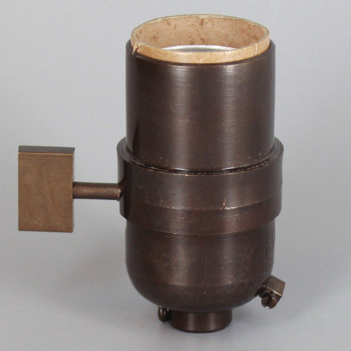 1-Way Square Key Smooth Shell Cast Lamp Socket - Bronze Finish